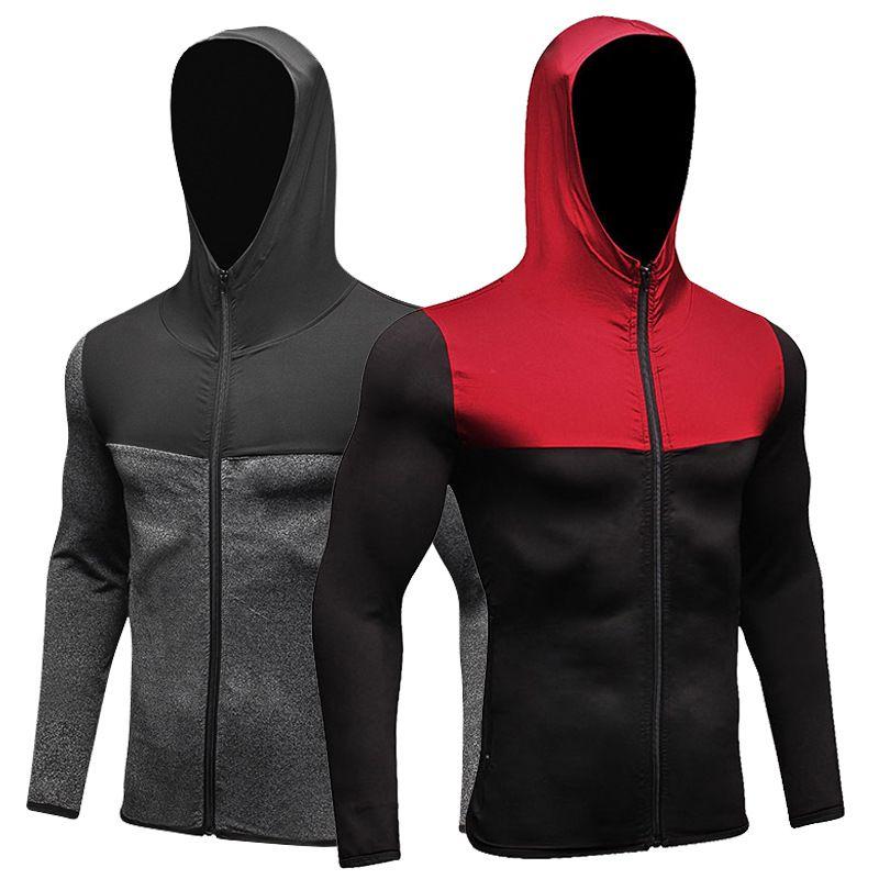 New Men Quick-Dry толстовки Толстовка Запуск Slim Fit Zip Up Фитнес Gym футболки DK7709KSU