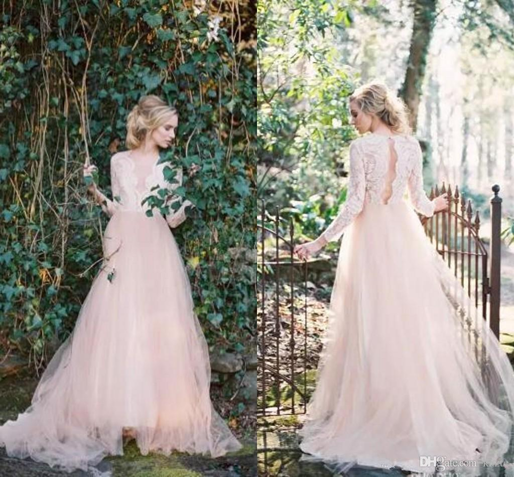 Western Garden Wedding Dresses Long Sleeves V Neck Country A Line Wedding Dresses Key Hole Back Lace Top Wedding Gowns 2018 Newest
