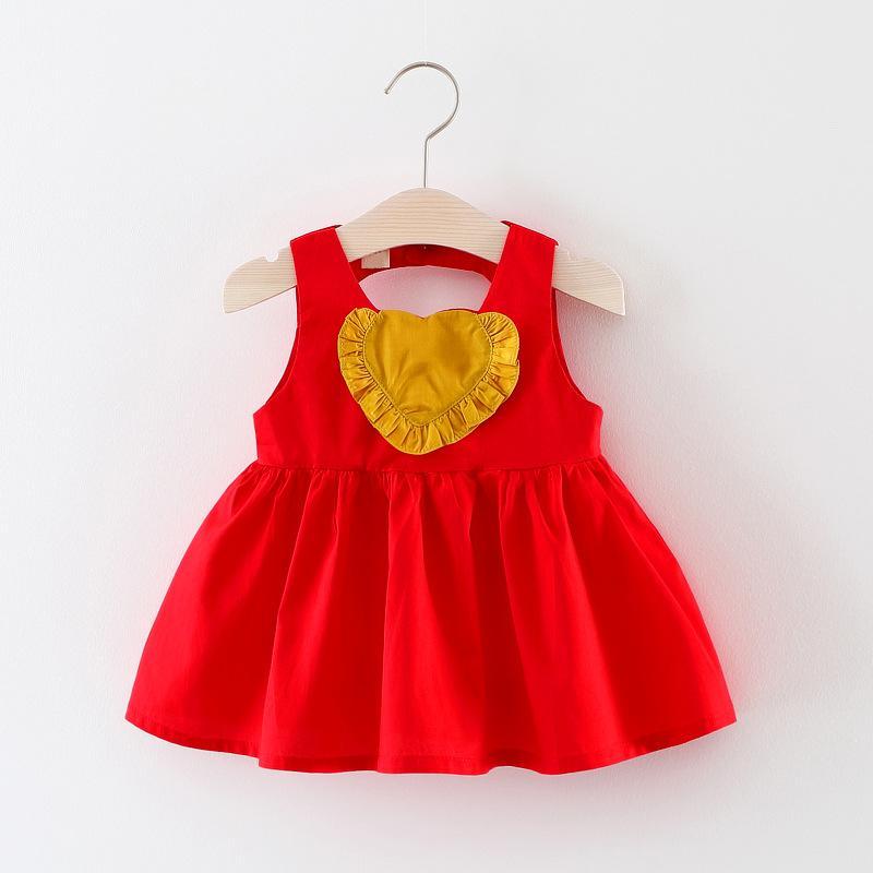 Col neonate abiti abiti color caramella vestito estivo ragazze casual coon colore puro senza maniche abiti da festa principessa