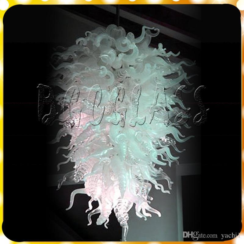 Флэш-белый ручной выдувного стекла Люстра современного искусства стекла Подвесной LED Подвеска Лампы Чихули Стиль Настроенный стекла Люстра Свет
