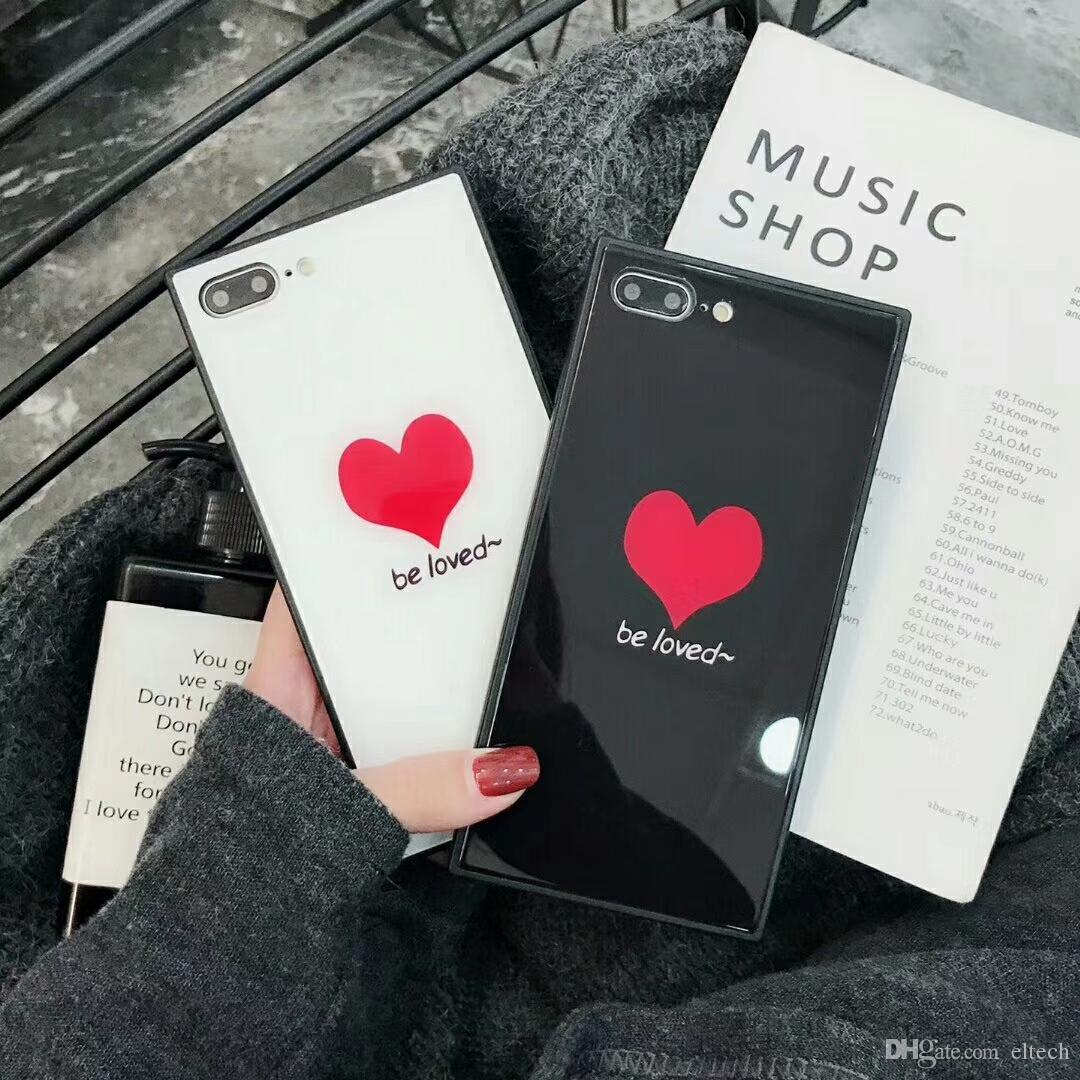 Le casse per l'iPhone di amore del cuore della cassa del telefono X del fumetto per l'iPhone 7 8 6 6S più molle della protezione della copertura posteriore di con la cordicella