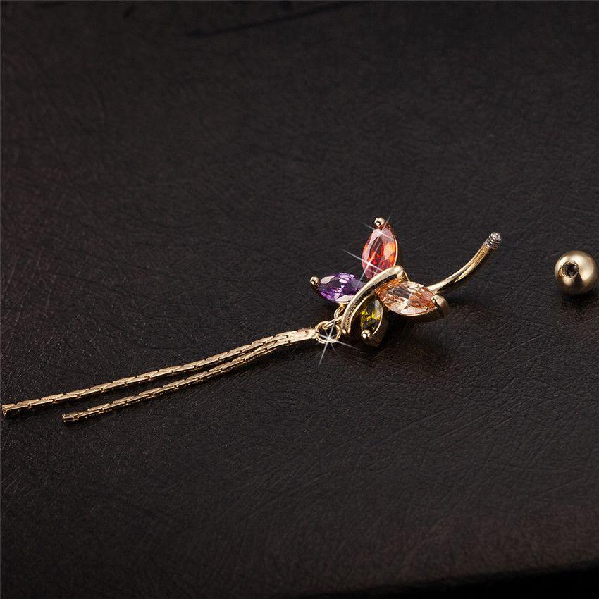 Papillon Tassel Piercing Bijoux Piercing Corps Balancent Piercing Nombril Nombril Nombril Or-Couleur Noir Couleur Cubique Zircone