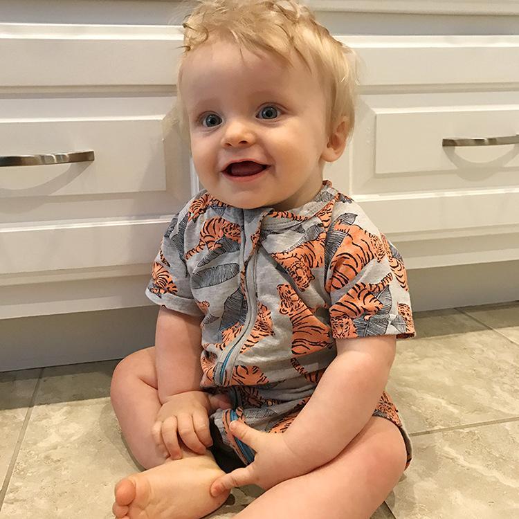 Mamelucos del bebé de manga corta de algodón impresa Tiger Baby Boy mamelucos verano Baby Boy mono ropa