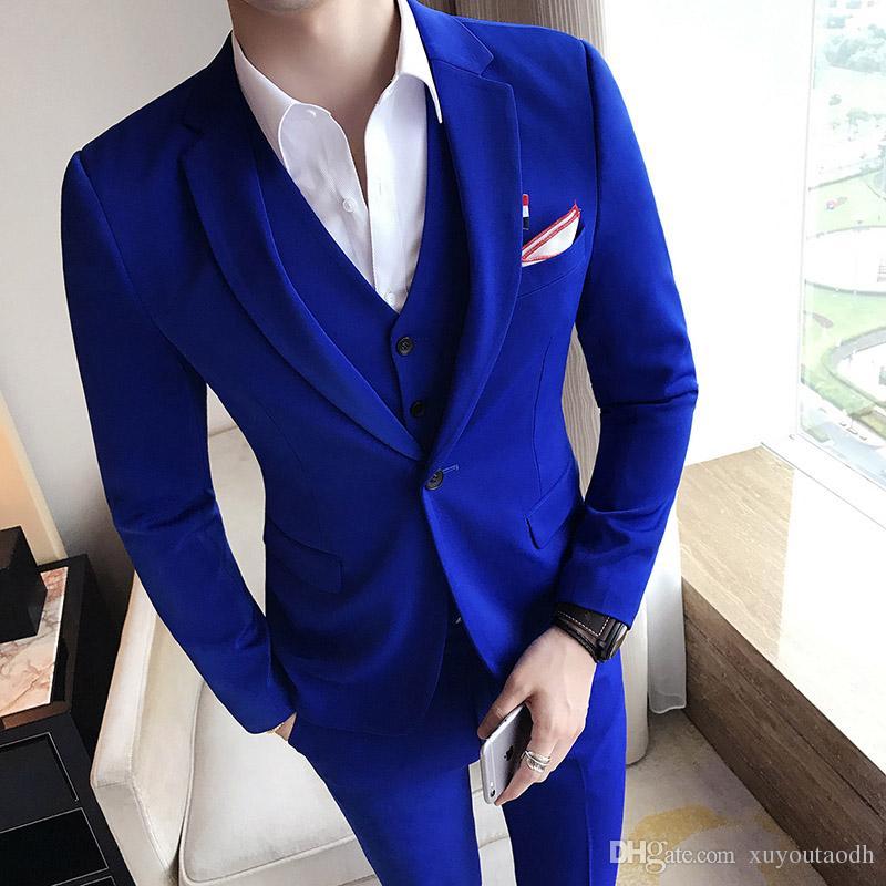 Cheap Hadesome Custom Made Men Suits Wedding Suits Best Man Groom Prom Tuxedo Slim Fit 3 Pieces Blazer Terno Masuclino (Jacket+Pants+Vest)