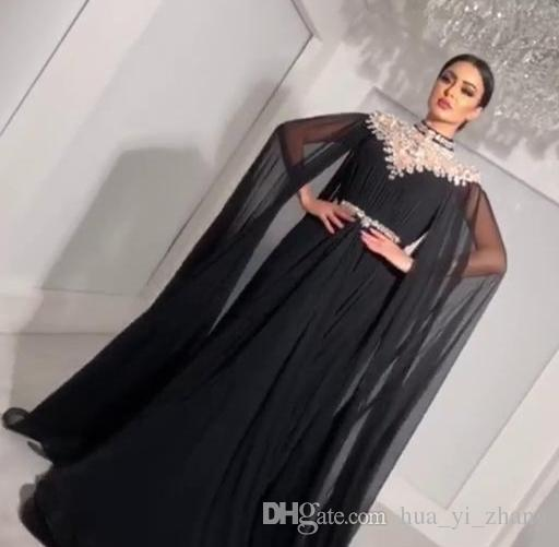 2018 Bling A-Line Evening Dresses with Long Cape High Neck Rhinestone Floor Length Plus Size Custom Made Sash Chiffon Prom Gowns