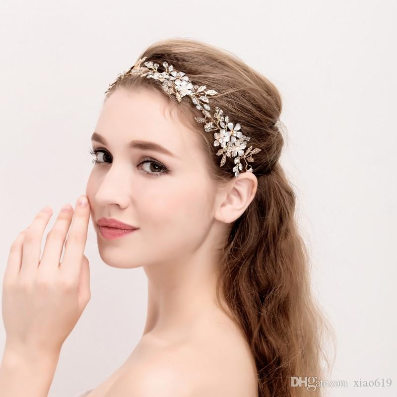 2018 Vintage Gold Leaf Headband Bridal Hair Vine Accessories Pearl Wedding Hair Jewelry Headbands Women Headwear Brides And Gowns Brides Veils From