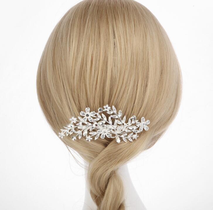 Wedding Hair Combs for Bride Crystal Rhinestones Flower Leaf Women Hairpins Bridal Headpiece Hair Jewelry Accessories