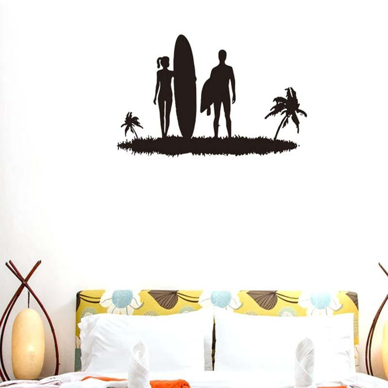 Creative Stylish Lover Beach Surfing Pattern Removable Wall Stickers for Living Room Bedroom Home Art Decor Murals K532