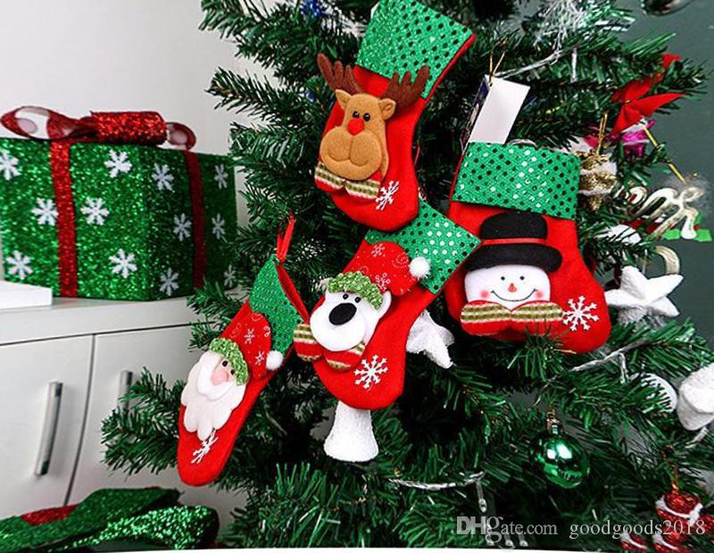 Newest Cartoon Christmas Tree Santa Socks Hanging Ornaments Decoration Fairy tale Christmas Festival Decoration crafts TO240