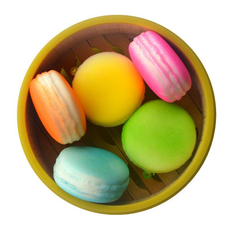 Langsam steigende Kawaii Soft Squishy Macaron Dessert Kuchen niedlich Handy Straps Kinder Spielzeug Geschenk Charms Creme Brot duftenden c097
