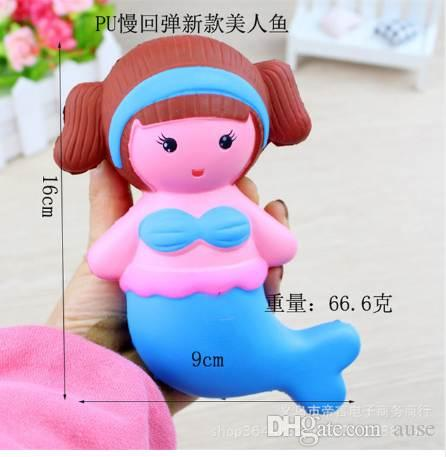 Zhenwei Squishy Toys 1 PC Slow Rising Peach Mermaid Doll Jumbo Squishi Squeeze Toy Squishes No Sonido Decoración Kindergarten
