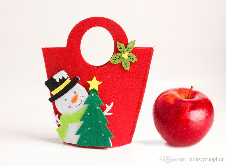 Christmas Eve Candy Gift Bags Christmas apple Wrapping Bag New Year Decor handle Bags for Kids Gifts