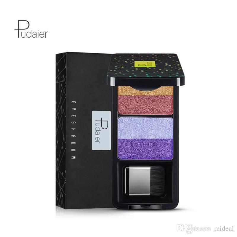 Hot Pudaier Nine Stype Makeup Eyeshadow Palette 4 Colors Nude Pigment Waterproof Shimmer Glitter Eye Shadow with Brush Kits DHL Shipping