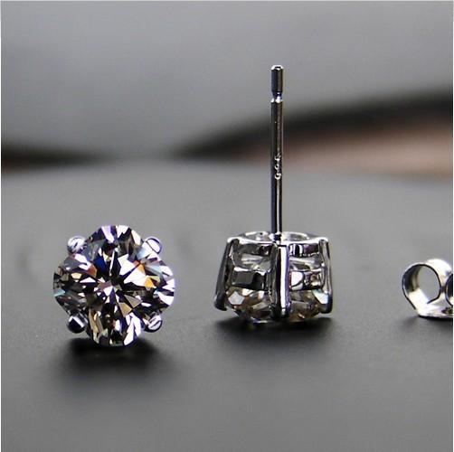 Envío Gratis Corte Perfecto 2 ct / par Diamante Sintético plata de ley chapado en oro blanco pendientes de boda pendientes novia amorosa no se desvanecen