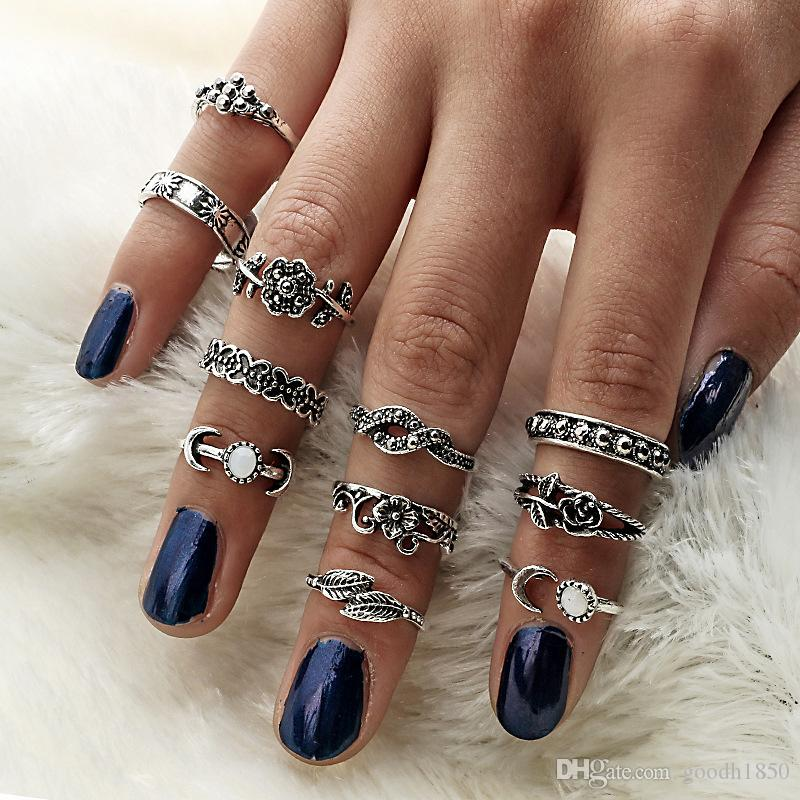 Fashion new combination 11 pcs finger rings sets,high quality allon materials,nice metal electroplate ring sets colours choose