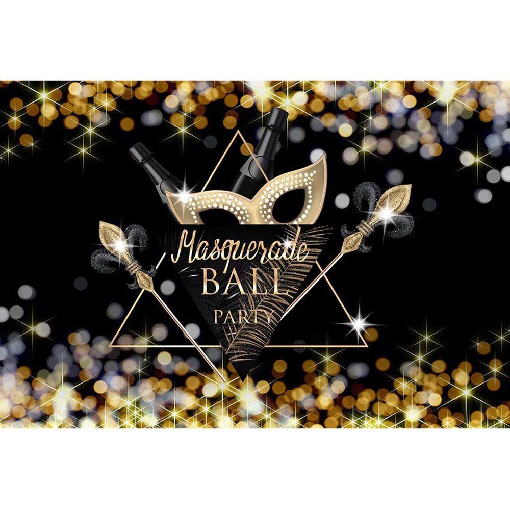 Маскарад Партии Фото Стенд Фон Черный Печатный Боке Золото Белый Горошек Ночной Шар Событие Баннер Фотографии Фоны