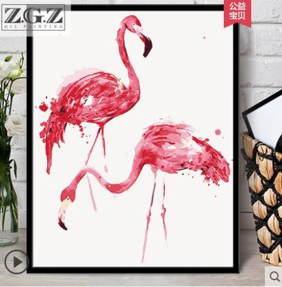 Çerçevesiz Renkli flamingo Hayvanlar Soyut Resim Tarafından Diy Dijital Boyama Numaraları Modern Duvar Sanatı Resim Ev Duvar Yapıt