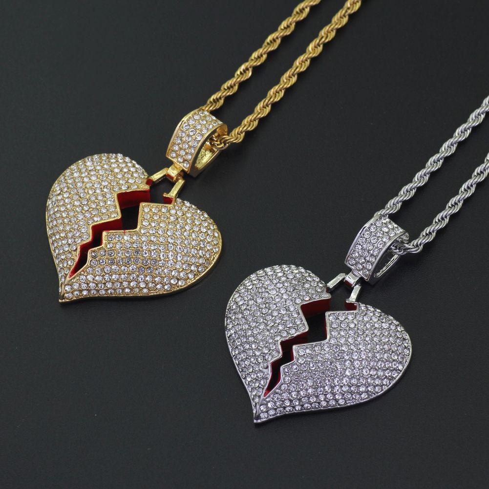 Bling bling Hip Hop coração pingente de colar de jóias para homens e mulheres N307