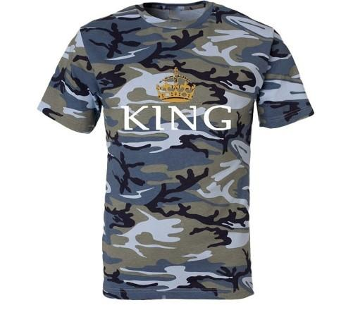 77bb31ec3c T Shirt For Men Women Tops King Queen Crown Print Camouflage Couple Shirts  Short Sleeved T Shirt Summer Tee Plus Size Clothing S 5XL Cool T Shirts  Design ...