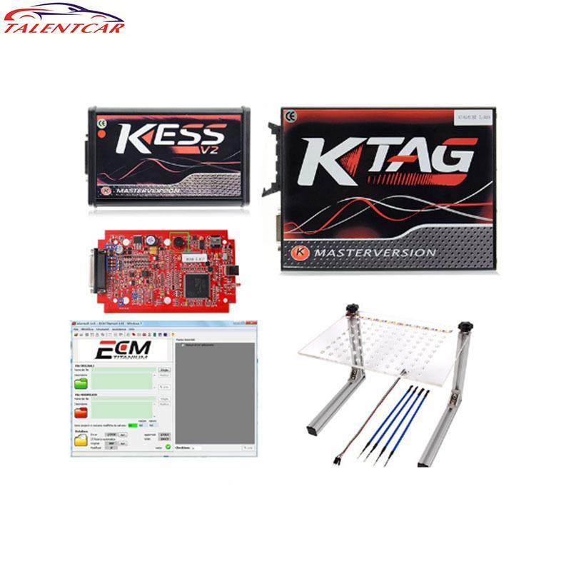 Online EU V5.017 Kit de ajuste de Kess V2 5.017 OBD2 Manager Rojo KTAG V7.020 No Token Master V2.23 ECU Tecla programadora Transponder de lector de código