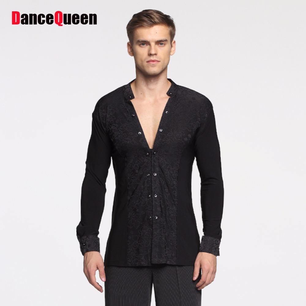 남성용 저렴한 라틴 댄스 셔츠 화이트 블랙 긴 소매 하단 남자 성인 탱고 볼룸 유행 공단 코트 10455