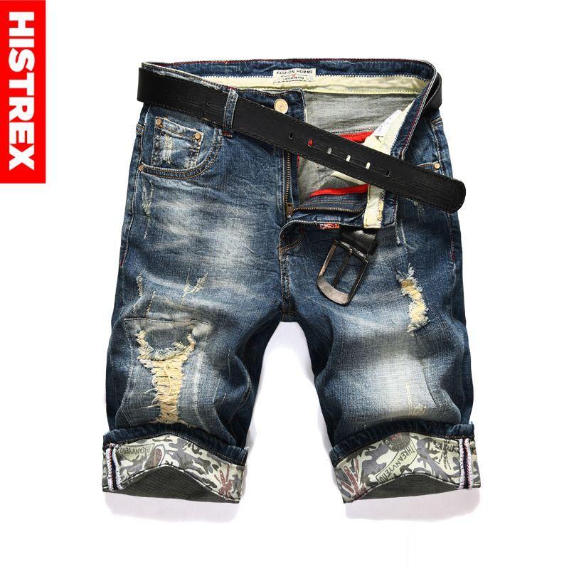 Nuevo Moda Jeans Shorts Men Ripped Menor de verano Motorista Motorista Elasticidad Casual Elasticidad Agujero Azul Azul Denim Corto