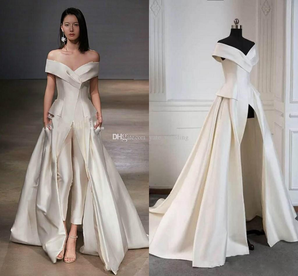 Elegant Off The Shoulder Evening Dresses Satin Floor Length Formal Prom Jumpsuits With Pants and Pockets Women Wear
