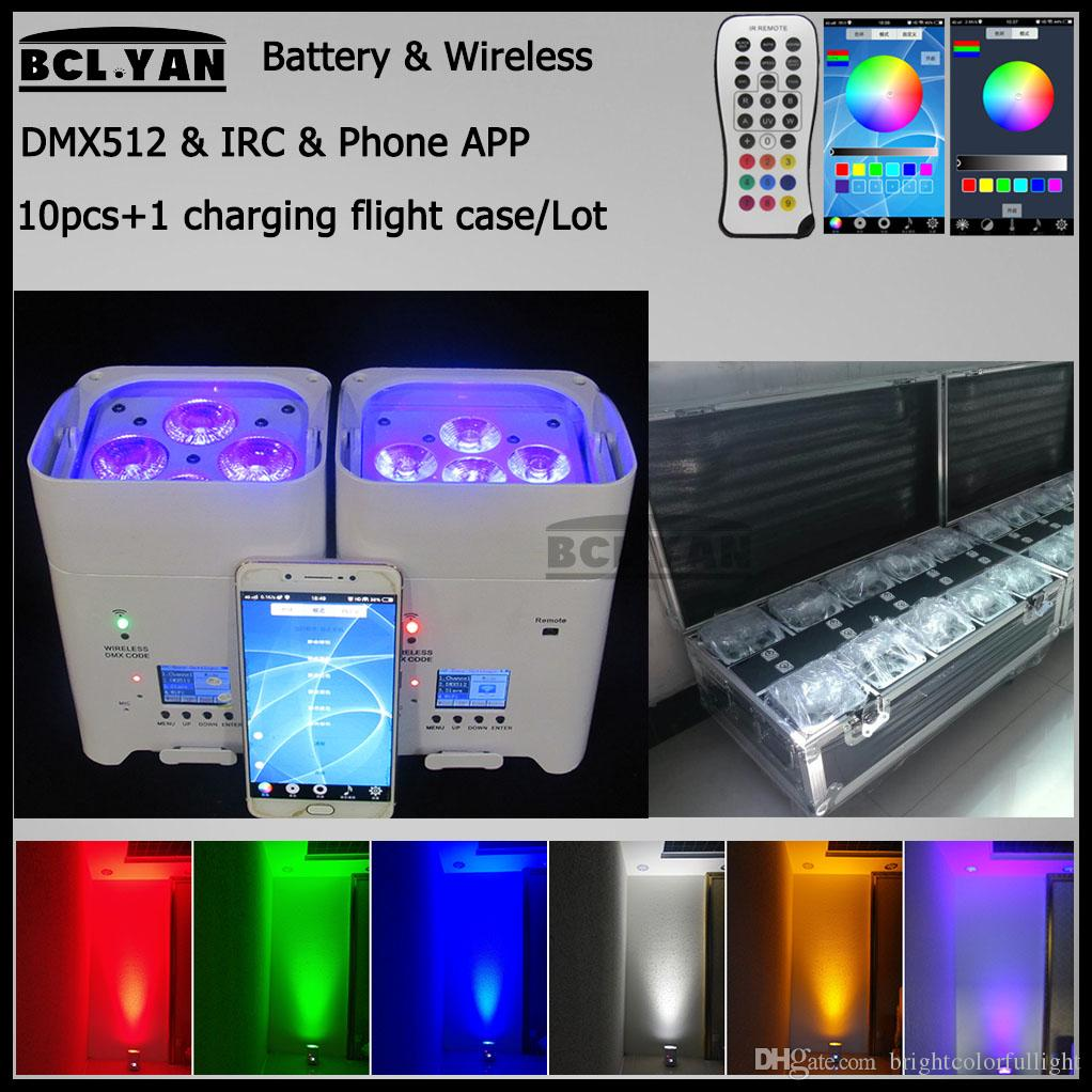 10Xlot with good fly case remote control 4/6*18w rgbwa uv wireless dmx led par wifi phone control uplights for wedding