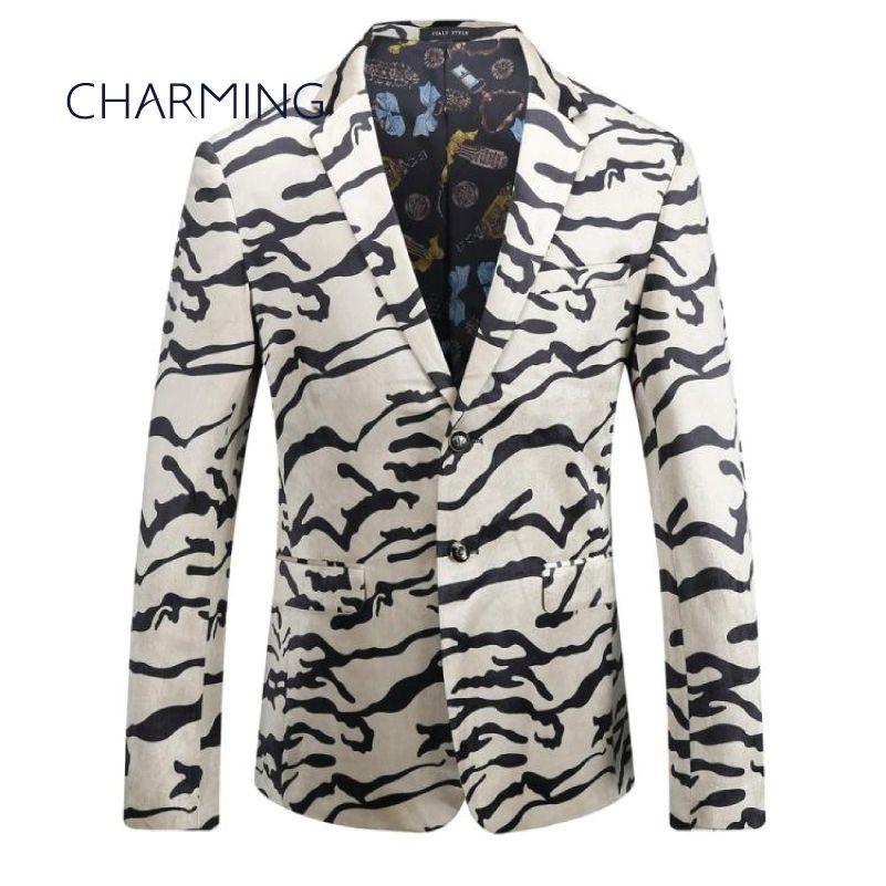 Mens terno bege Mens ternos online padrão Tigre ternos casuais para homens homens paletó Mens ternos modernos