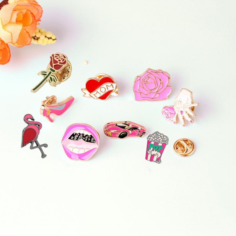2017 Brand Fashion Denim jacket Cartoon Cute Love Mom Heart Car Rose Flower Red Lip High Heel Shoe Metal Brooch Pins wholesale