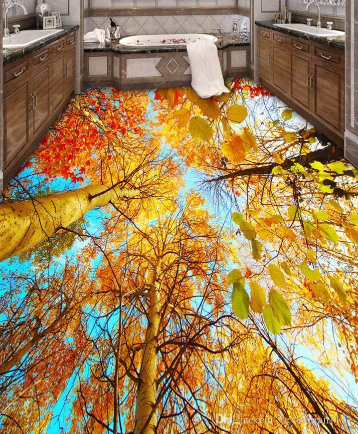 3D Boden Malerei benutzerdefinierte Bad Vinyl Boden Tapete Blauer Himmel Ahornblatt 3D Boden Schlafzimmer 3D stereoskopische Tapete