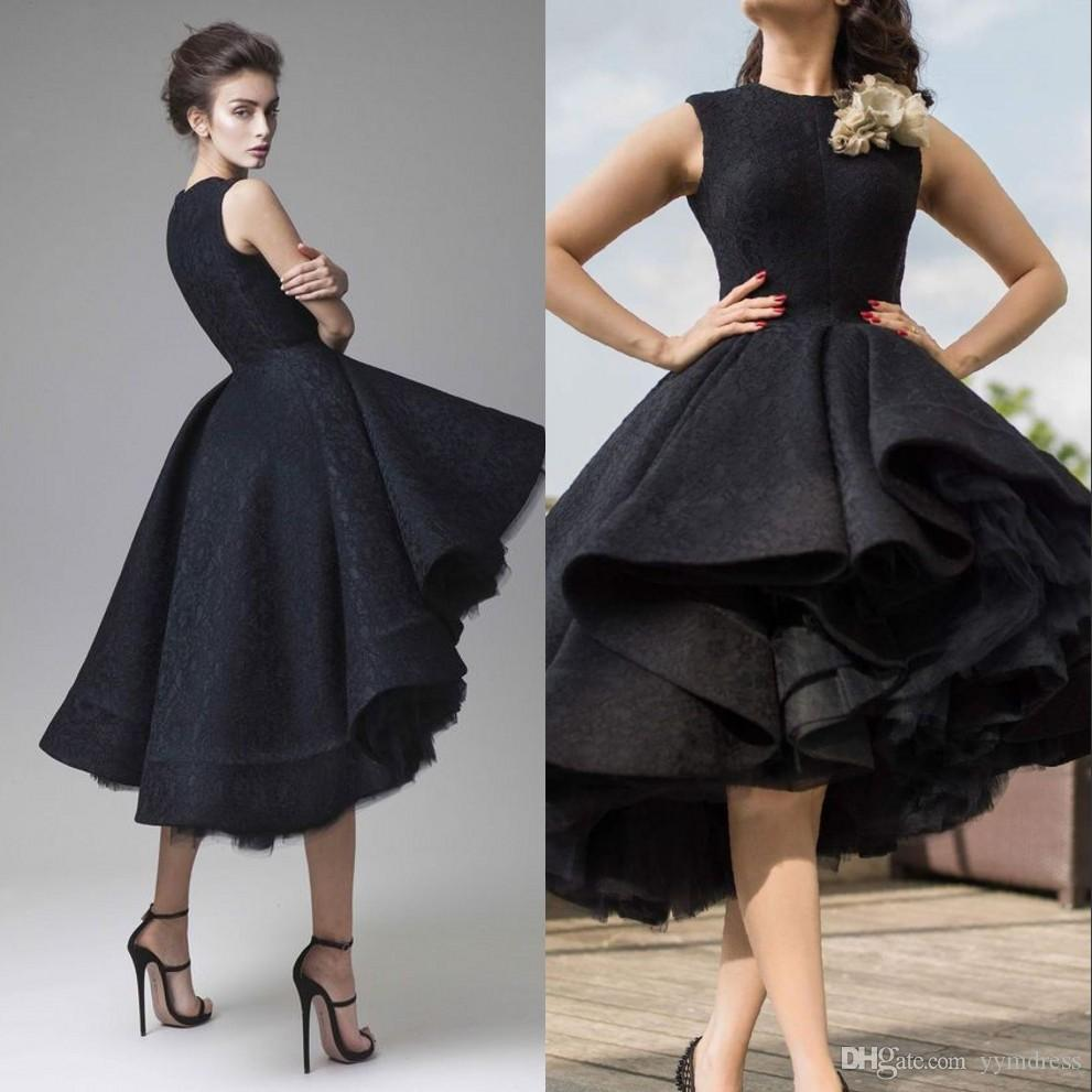 Prom Dresses Krikor Jabotian Jewel Sleeveless High Low Party Gowns 2019 Modest Handmade Flower Dubai Arabic Evening Homecoming Dress Wear