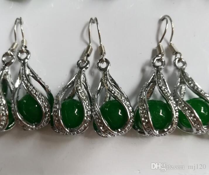 Pendientes de cuentas de transferencia de jade malayo verde completo Pendientes de cuentas de plata lleno verde de mujer 925 Pendientes de pendientes