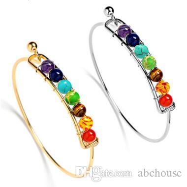 Yoga Chakra Stein Armband Silber Gold Naturstein Armband Perlen Reiki Spirituelle Buddha Schmuck für Frauen Kinder 4 Farben