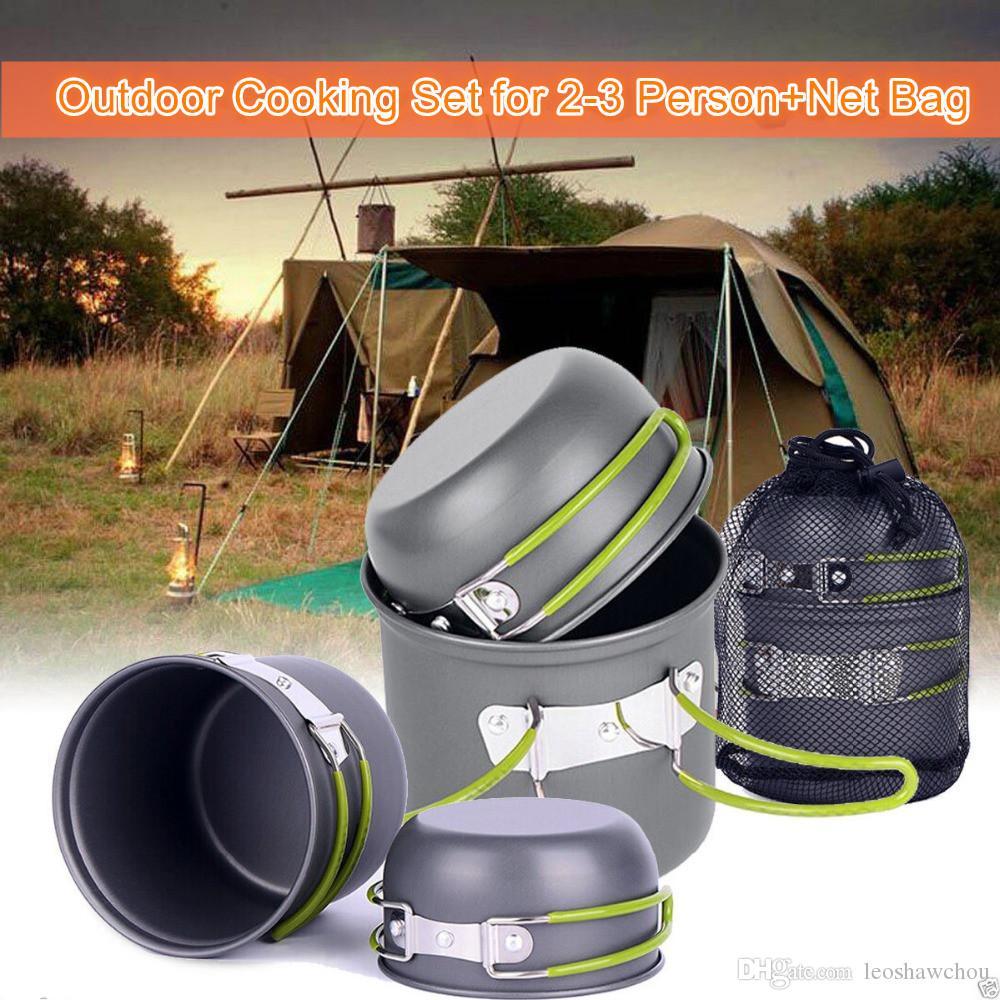4pcs portable de cocinar al aire Set para 2-3 personas antiadherente Ollas acampar al aire libre de la comida campestre del pote de Tazones de aluminio anodizado con Negro bolsa de red