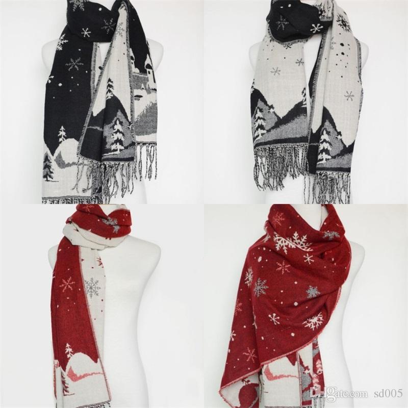 Flocon De Neige Glands Écharpe Wraps Automne Hiver Femme De Noël Garder Au Chaud Knitt Cadeaux Long Écran Solaire Châle De Plage Serviette De Mode 18zr bb
