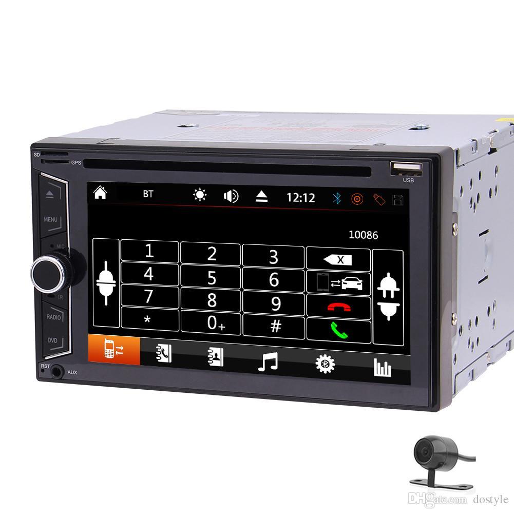 "6.2 ""Doble 2 DIN Car DVD, reproductor de video, Bluetooth, estéreo, radio, unidad principal, PC para computadora, AM / FM, AUX, USB, SD, Subwoofer + cámara de respaldo"
