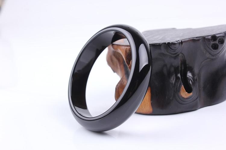 Natürliche schwarze Chalzedon Damen flache bar Armband Retro-Mode Frauen ethnischen Stil cb6 #