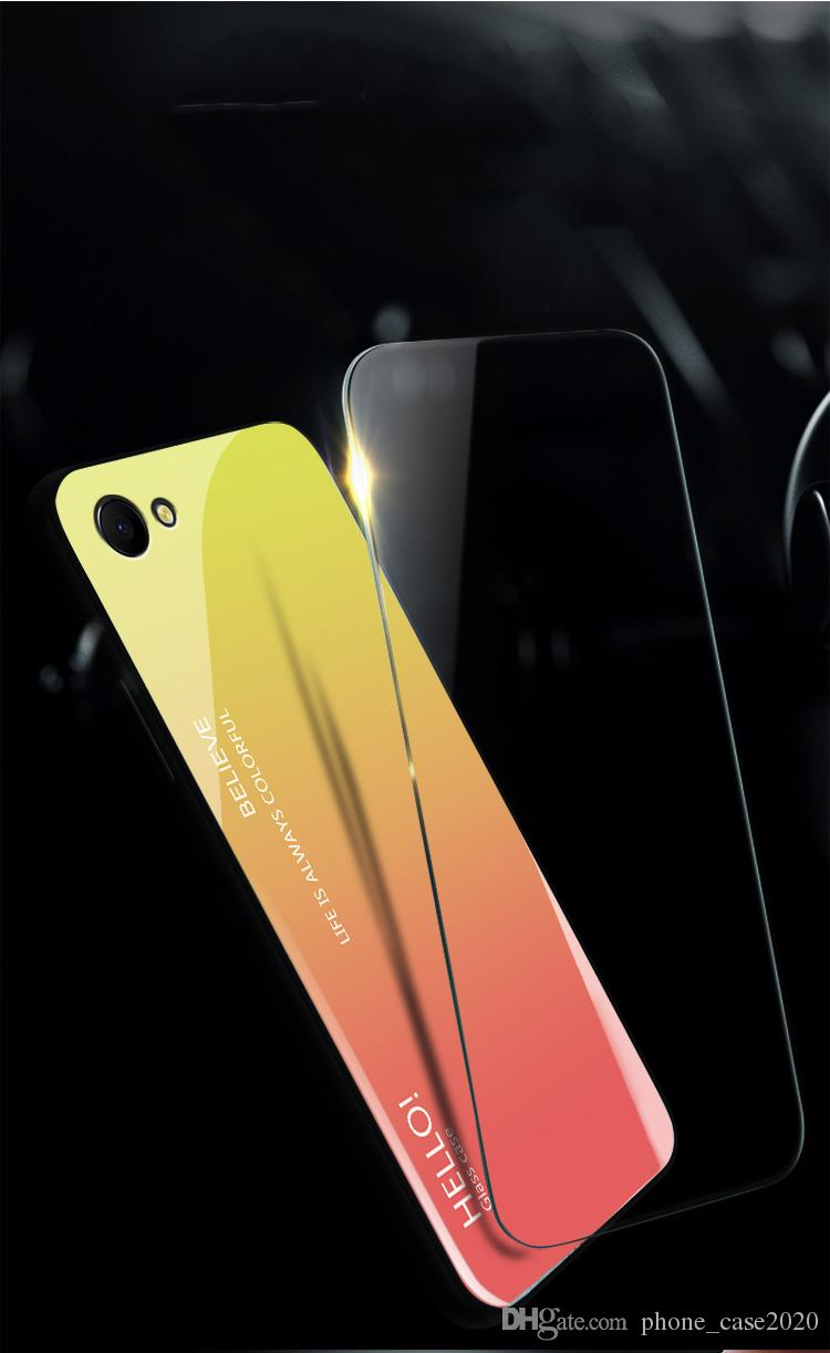 Slim Gradient Color Tempered Glass Case For Oppo A83 F9 F7 F5 A73 F3 A77 K1  R17 A7X K1 Make Your Own Phone Case Cell Phone Cases From Phone_case2020,