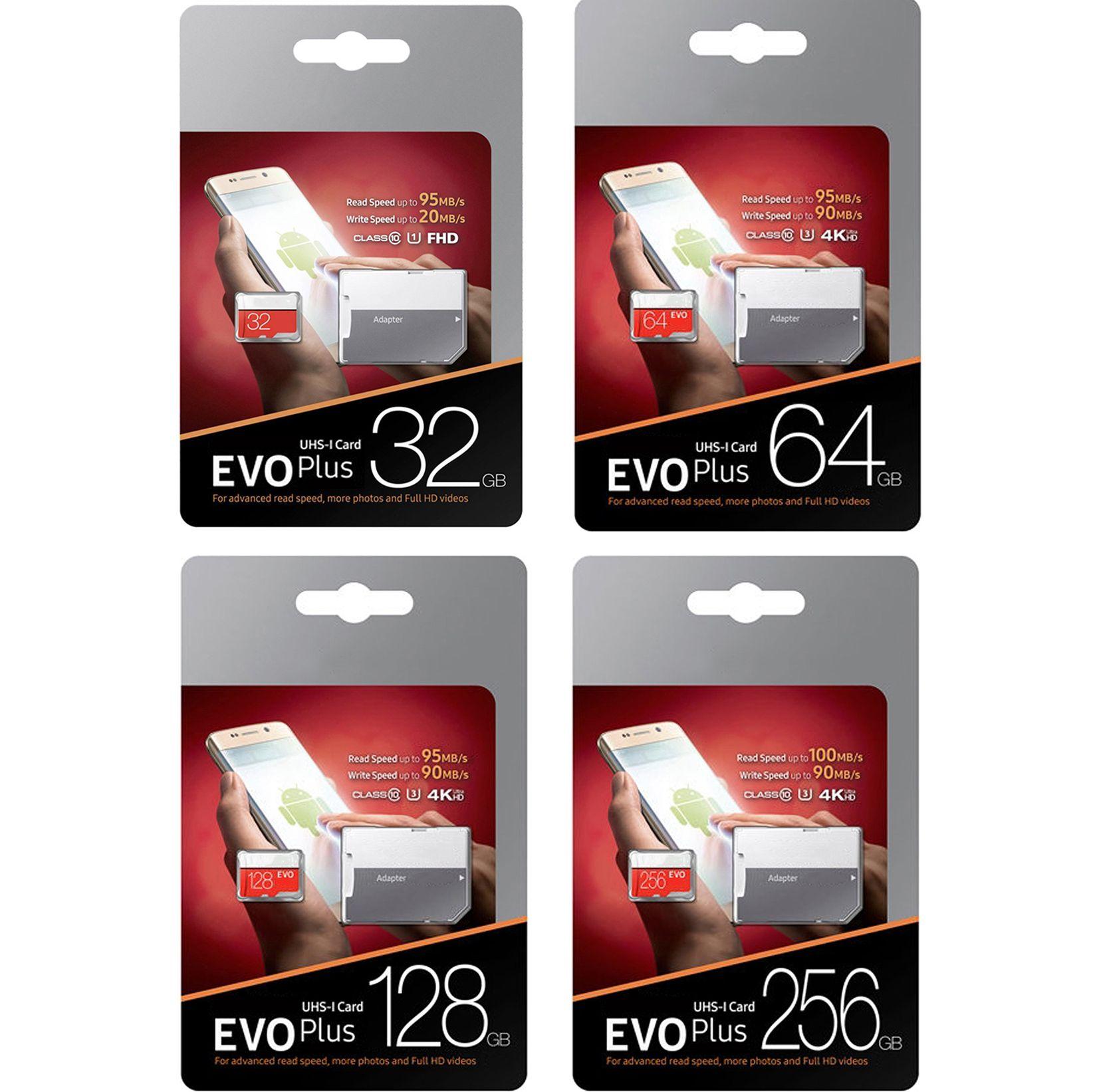새로운 EVO Plus 256GB 128GB 64GB 32GB 메모리 카드 UHS-I U3 트랜스 플래시 TF 카드 (어댑터 소매 패키지 포함)