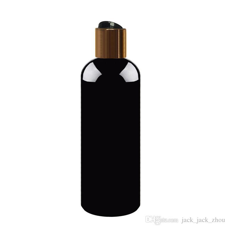 Venta al por mayor 30 unids 300 ml botella negra vacía con disco dorado lia, almacenamiento de champú con tapa de disco dorado botellas de plástico de embalaje negro vacío