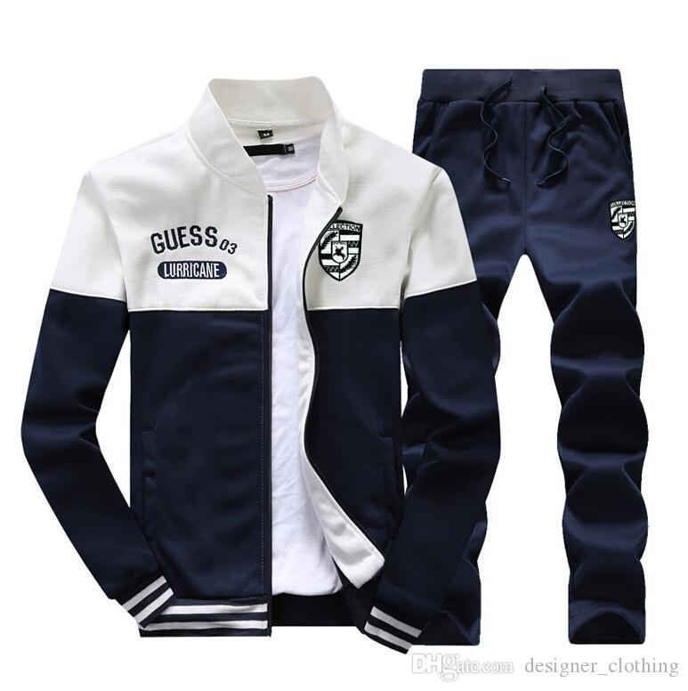 Men's Clothing Men's Track 2018 new brand tracksuits men's patchwork sportswear jackets+pants outwear suits mens hoodies sweatshirts