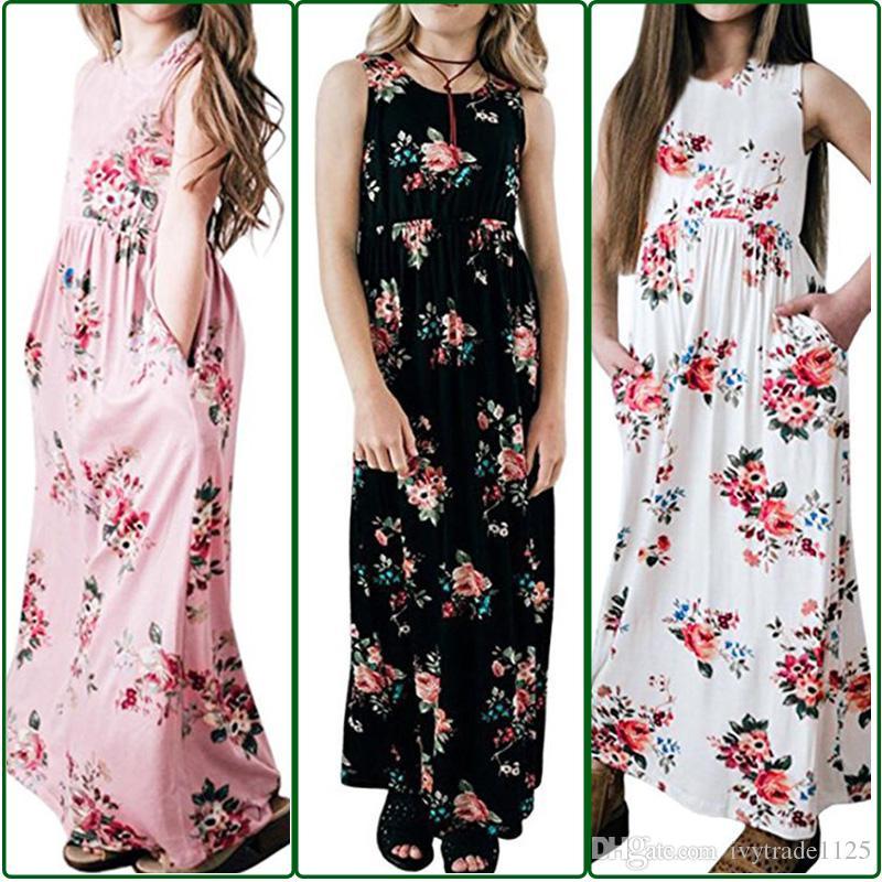 YENI gelenler Kız Giysileri kız Elbise Çocuk Butik Giyim O-Boyun Çiçek prind Yaz Kız Kolsuz Elbiseler 4 renkler