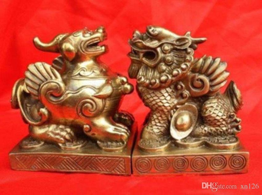"""Paar chinesischen heiligen Bronze Drachen Pixiu Statuen 3,6 """"H jeder"""
