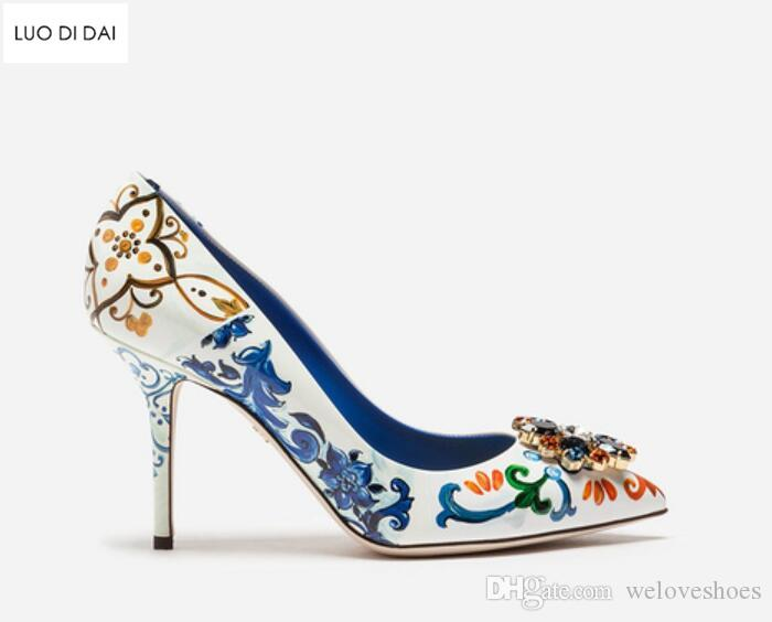 Fashion 2018 brand Bohemian Pumps Women Pointed Toe party shoes print wedding Shoes diamond dress shoes vintage print leather high heels