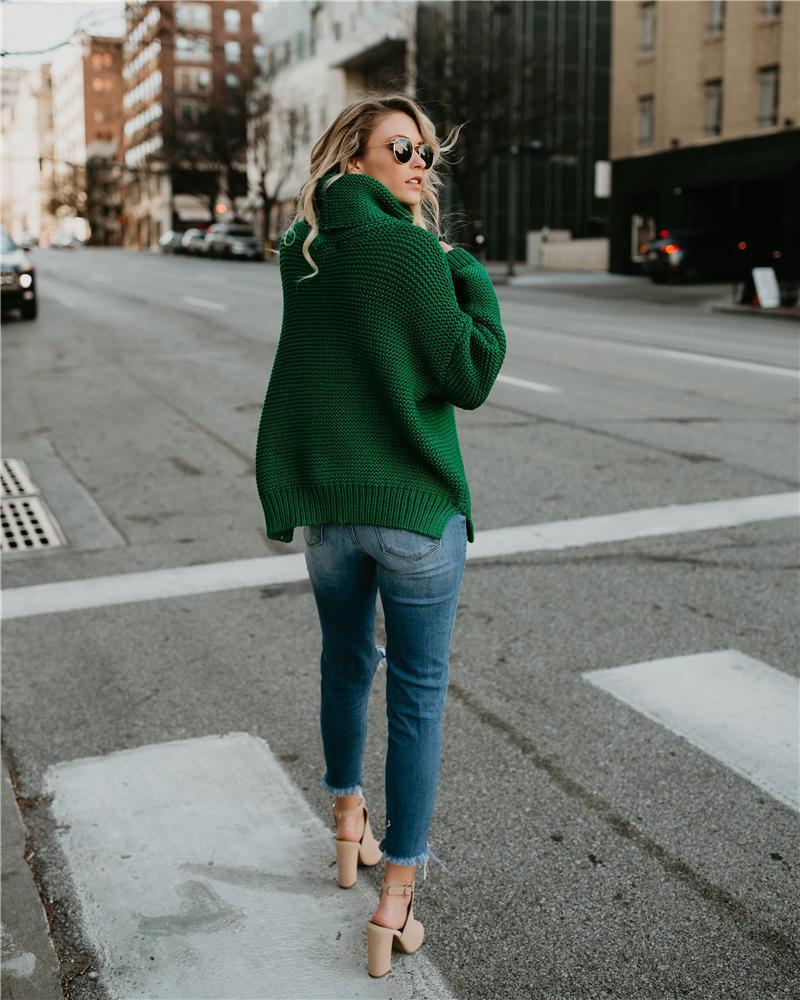 Großhandel Grobe Pullover Damen Pullover Rollkragenpullover Weibliche Pullover Frauen Warme Pullover Dicke Winter Kabel Gestrickt Übergroßen Pullover
