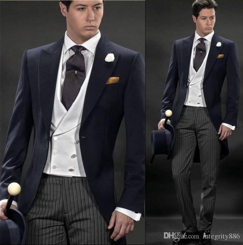 Matin style bleu marine Frac hommes Smokings de mariage excellent smokings marié hommes dîner robe de bal de cérémonie (veste + pantalon + Tie + Gilet) 788