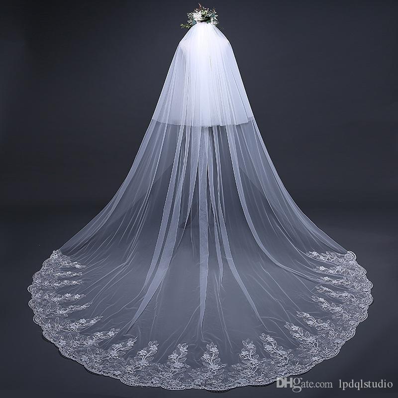 Fantezi Fildişi Uzun Düğün Peçe Tarak Ile 3 * 3 M Uzun Gelin Peçe ile Tarak Düğün Aksesuarları Ucuz