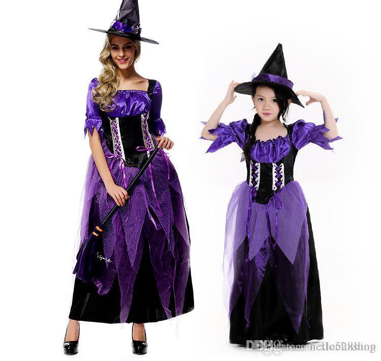 Uniformi Nuovo Halloween principessa Festival Maniche corte domestica regina gioco di Cosplay di Natale Funny Kids mamma Tema del costume viola