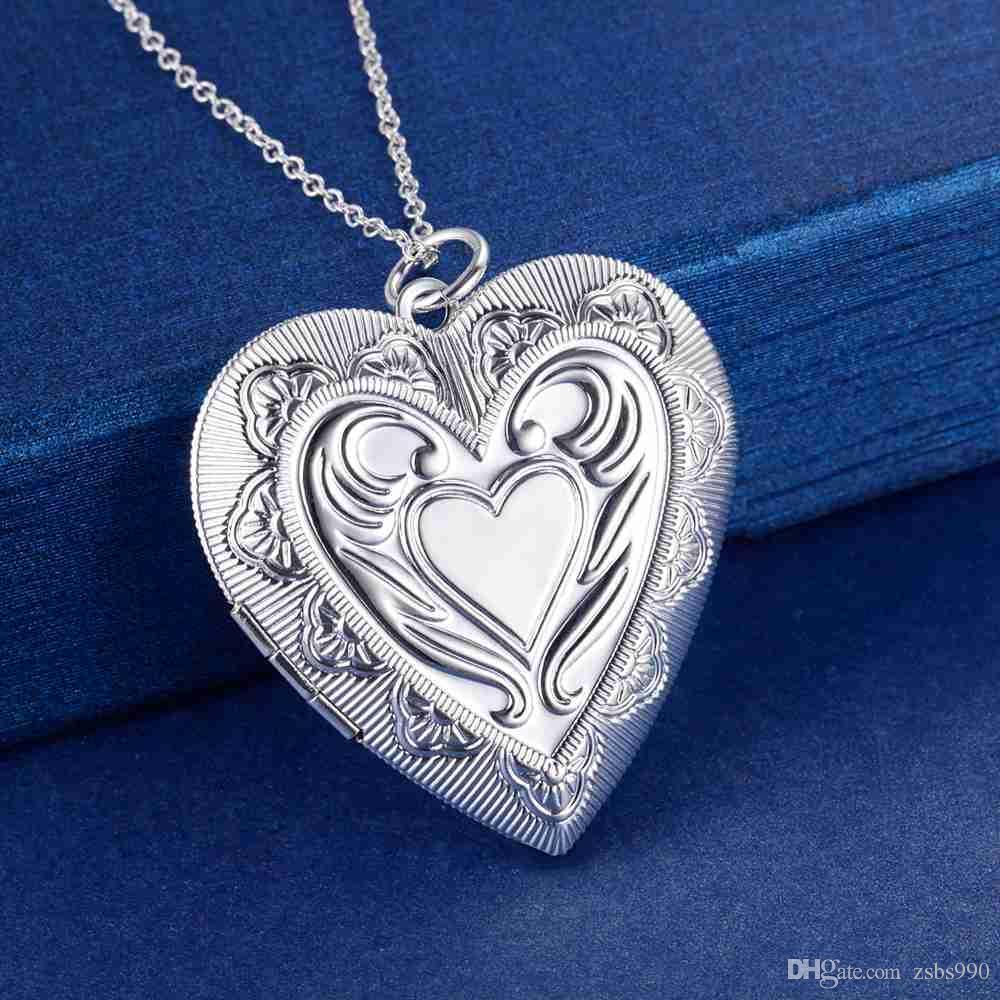 Monili di modo della collana del pendente del Locket del pendente del cuore placcato dell'argento sterlina del commercio all'ingrosso di prezzi di fabbrica per le donne San Valentino che spedice liberamente